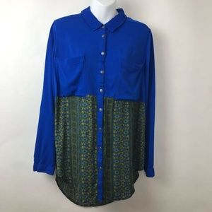 Free People Button Up Sunflower Top Blue Green